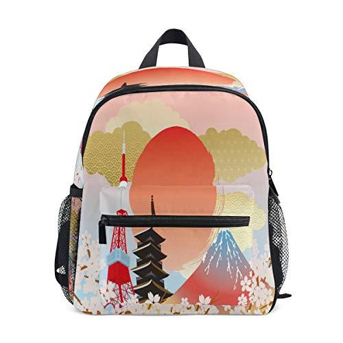 RXYY Kinder Rucksäcke Japan Tokyo Blume Tagesrucksäcke Reise Kleinkind Vorschule Schule Tasche Beiläufig Rucksack mit Truhe Gurt zum Mädchen Jungs