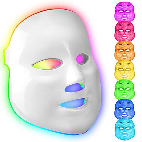 Mascara facial luz led facial profesional 7 colores Terapia de fotones para tratamiento facial Rejuvenecimiento de piel,Anti Envejecimiento, Arrugas