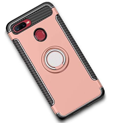 LAGUI Funda Adecuado para Xiaomi Mi 8 Lite, Doble Capa Carcasa con Anilla Compatible con Bases Imantadas para Soporte de Coche. Rosa Dorada