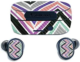 MightySkins Carbon Fiber Skin for Skullcandy Sesh True Wireless Earbuds Colorful Chevron Protective product image