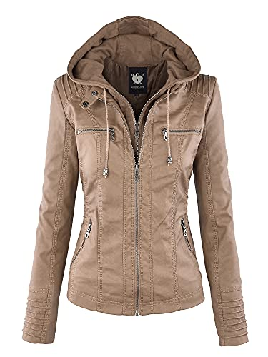LL WJC663 Womens Removable Hoodie Motorcyle Jacket XL KHAKI