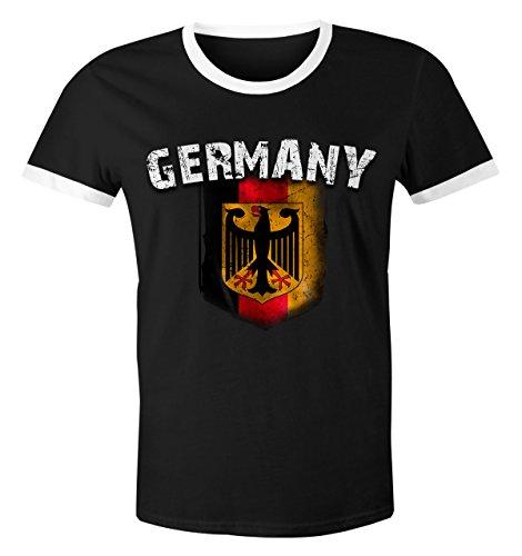 Cooles Herren Fußball WM 2018 T-Shirt Deutschland Flaggen Design Vintage Retro Trikot-Look schwarz-weiß XL