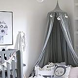 MultiWare Ciels de Lit Baldaquin Toile Décorative Anti-Moustique pour Bébé Enfant (Gris)
