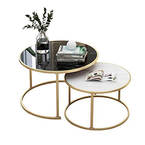 LYP Tavolini da caffè per Soggiorno Tavolini Rotondi con tavolini Estraibili, Piano in Materiale MDF, Base in Metallo, Set di 2, per Soggiorno o Salotto