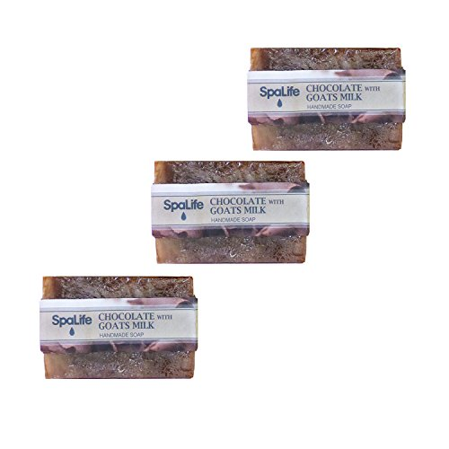 SpaLife Natural Bar Soap - Handmade - 3 Pack - 3.5oz Each (Chocolate with Goats Milk)