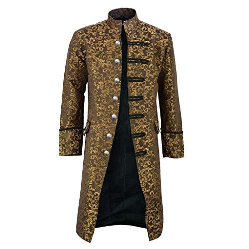 Tosonse Gabardina Hombre Botón Moda Steampunk Chaqueta De Abrigo Vintage Chaqueta Gótica Traje Uniforme Abrigo para Hombre