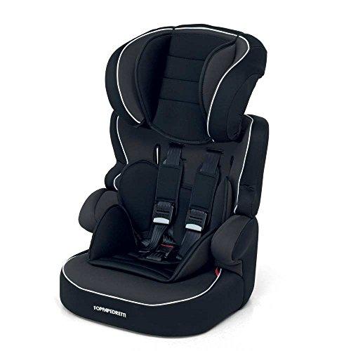Foppapedretti Babyroad - Seggiolino Auto, Senza ISOFIX, Gruppo 1-2-3 (9-36 Kg) per bambini da 9 mesi a 12 anni circa, poggiatesta regolabile in altezza, Nero