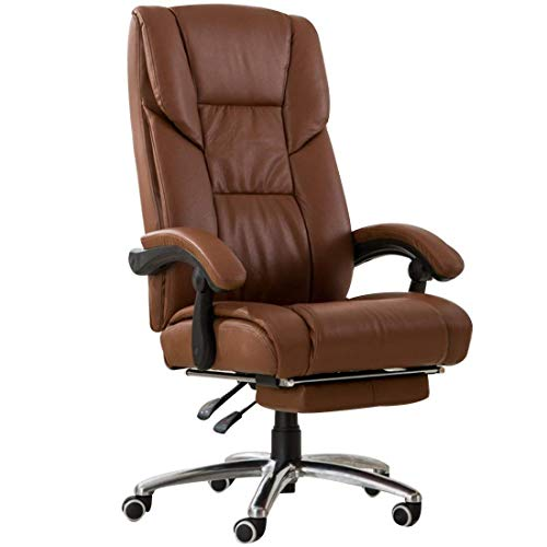 FTFTO Office Life Executive Recline Office Chair, Ergonomic High Back Racing Gaming Swivel Lounge Chair Adjustable Height with Foot Stool Computer Desk Chair Office Chair (Color : Amber)