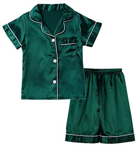 Little & Big Boys Girls Kids Satin Pajamas Set 2 Pieces PJS Short Sleeve Button-Down Top + Shorts Sleepwear Loungewear, Green, 7-8 Years = Tag 14