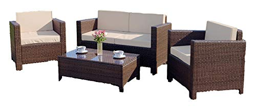 Abreo 4 Seater Garden Rattan Furniture Set