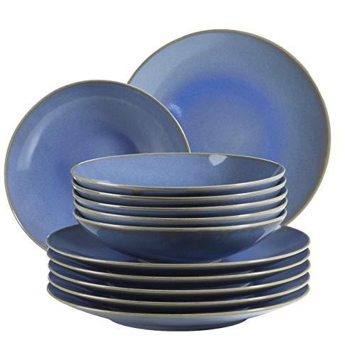 MÄSER 931554 Ossia, Teller-Set für 6 Personen im mediterranen Vintage-Look, 12-teiliges modernes Tafelservice mit Suppentellern und Speisetellern in Hellblau, Keramik