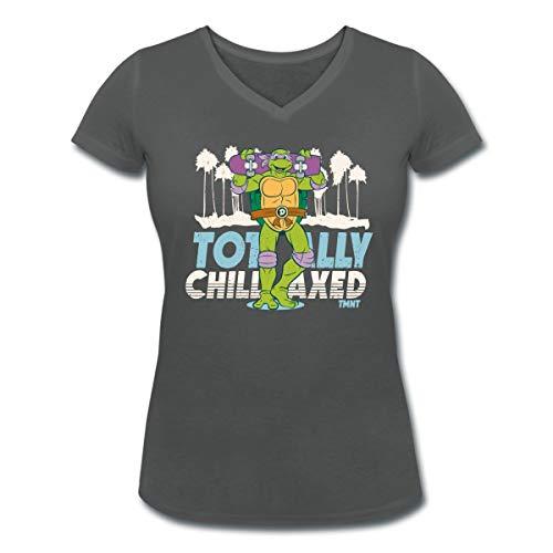 TMNT Turtles Donatello Mit Skateboard Frauen Bio-T-Shirt mit V-Ausschnitt, XL, Anthrazit