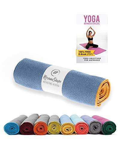 NirvanaShape yoga towel blu con orlo giallo (185 x 63 x 0,4 cm)