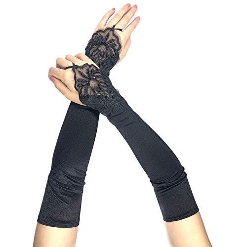 PANAX Schicke Extra Lange Damen Handschuhe aus elastischem Satin in Schwarz - Stulpen in Einheitsgröße für Frauen, Hochzeiten, Opern,...