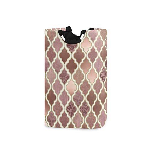 N/A Wäschekorb, rosegold, rosa und kupferfarben, marokkanische Fliesen, zusammenklappbarer Aufbewahrungsbehälter mit Griffen für Kleidung, Waschen, Schlafzimmer, Organizer, Spielzeug-Kollektion