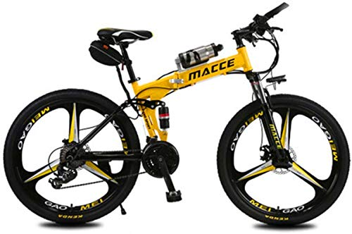 RDJM Ebikes Electric Bike Electric Mountain Bike Foldable Ebike 26 Inch Tires Folding Electric Bike 250W Watt Motor 21 Speeds Electric Bike (Color : Yellow)