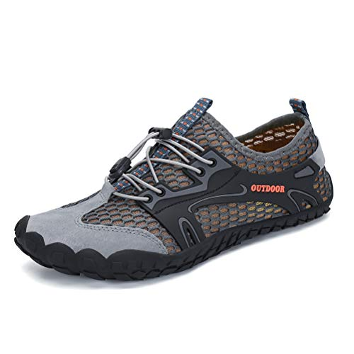 AFT AFFINEST Mens Womens Water Shoes Outdoor Hiking Sandals Aqua Quick Dry Barefoot Beach Sneakers Swim Boating Fishing Yoga Gym(Gray-A,42)