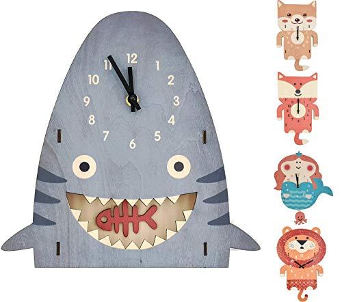 ELLEMOI 3D Kinderuhr Kinderwanduhr aus Holz Ohne Ticken Lautlosem Kinder Wanduhr Wand-Deko für Kinderzimmer (Haie)