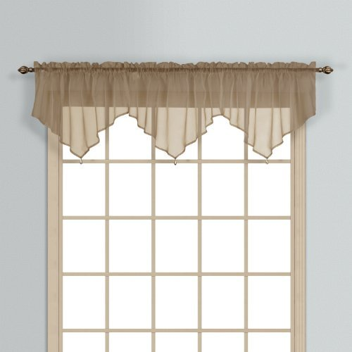United Curtain Monte Carlo Sheer Ascot Valance, 40 by 22-Inch, Taupe by United Curtain