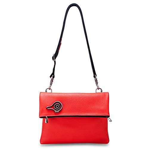 Orabird Bolso Bandolera Mujer Cuero Suave Clutch Bolsos Hombro Plegable (Rojo Brillante)