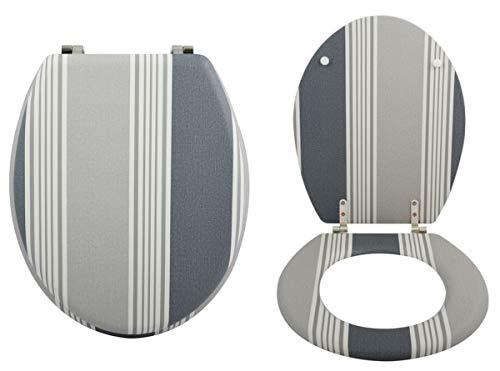 MSV WC-bril wc-deksel bamboe cardiff scharnieren van roestvrij staal - hoogwaardige en stabiele kwaliteit