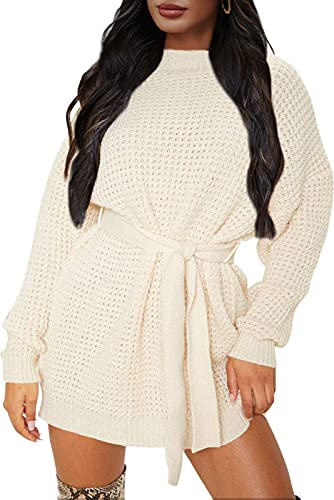 ZESICA Women's Long Sleeve Solid Color Waffle Knitted Tie...