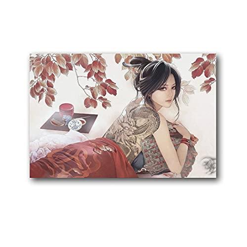 RUIFEN Geisha Poster Japón Único Femenino Artista Trabajadores Arte Arte Cuadro Cuadro Cuadro Cuadro Decoración de Pared Fotos Regalos Hogar Moderno Decorativo Póster Enmarcado/Sin Marco 20×30cm