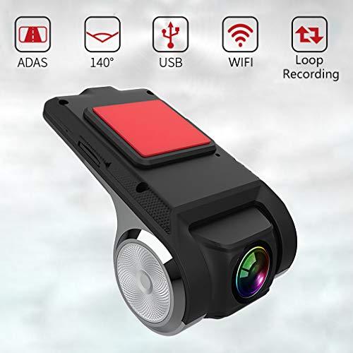 LPWCA Dashcam voor auto, HD 1080p en 140° groothoek, mini-camera, wifi, met G-sensor, ADAS, nachtzicht, loopopname