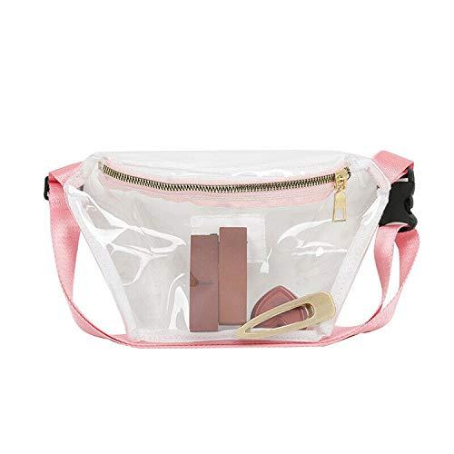 Women Transparent PVC Clear Zipper Waist Fanny Pack Belt Bag Lady Portable Travel Hip Bum Bag New Fashion Style,Pink