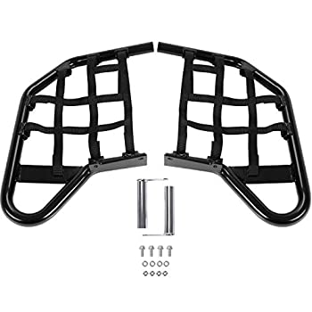 Aluminium Side Step Black Compatible with All Raptor 700 Models and Years Black Side Step with Black Webbing nets