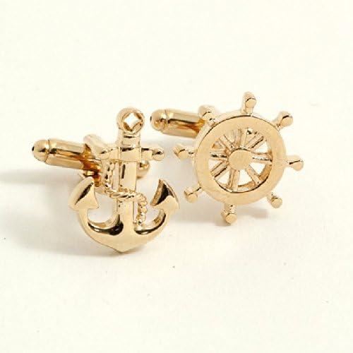 Bey-Berk Gold Plated Ships Anchor and Wheel Cufflinks