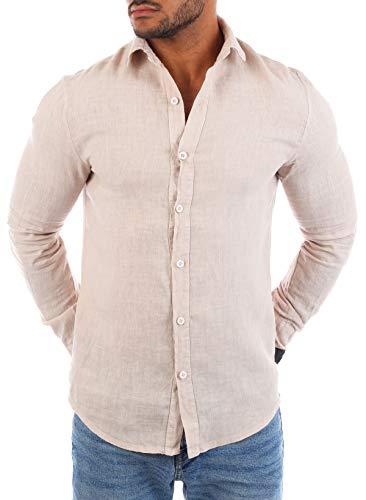 Young&Rich Young & Rich Herren Leinenhemd Langarm körperbetont leicht tailliert 100% Leinen T3152-H1650, Grösse:S, Farbe:Beige