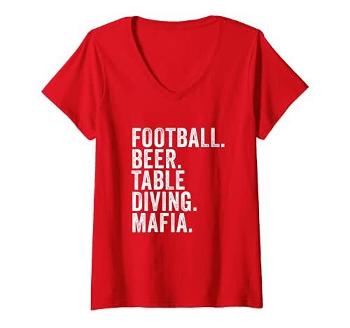 Damen Rechnungen Fußball-Mafia, Buffalo New York Sportfan T-Shirt mit V-Ausschnitt