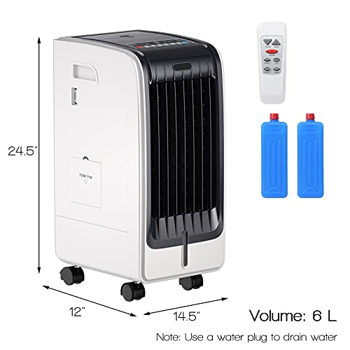 GOFLAME Evaporative Air Cooler, Bladeless Fan with 3 Mode and 3 Wind Speed Settings, Air Humidifier with 6L Water Tank, Quiet Operation, 8-hour Time Setting w/Remote Control, Ideal for Home and Office
