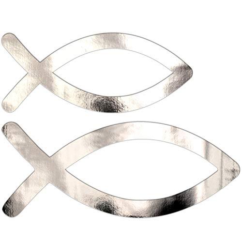 vsd-vk 50 Stücke Silber Fische Taufe Tischdeko Tischstreu Kommunion Konfirmation Deko Mädchen Junge Streuteile Streudeko
