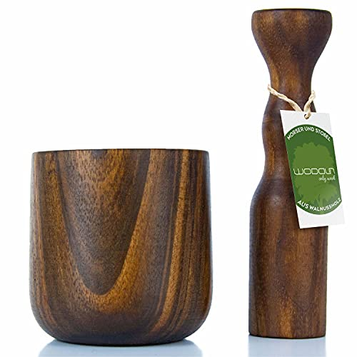 Woddun Mortier avec pilon en bois de noyer - Petit mortier avec pilon - Diamètre : 7 cm - Hauteur : 7,5 cm - Profondeur : 5 cm
