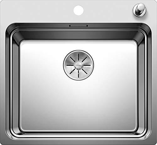 BLANCO ETAGON 500-IF/A – Edelstahlspüle für die Küche für 60 cm breite Unterschränke – Mit IF-Flachrand und integrierter Armaturenbank – Edelstahl Seidenglanz – 521748