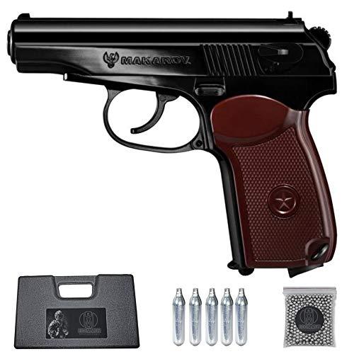 Ecommur. Legends Makarov umarex | Pistola de perdigones (Bolas BB's de Acero) de Aire comprimido semiautomática 4,5mm + maletín + balines y CO2