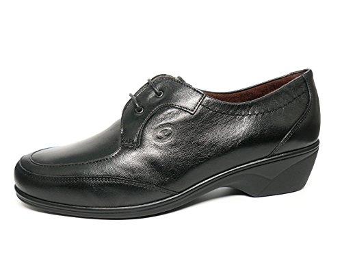 PITILLOS Bequeme Schuhe Schnürsenkel Damen Leder Schwarz–1012–100, Schwarz - Schwarz - Größe: 41
