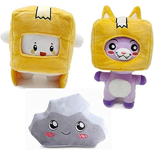 7.8 'Anime LankyBox Peluche Foxy y Boxy y Rocky Removible LankyBox Stuff Doll Gift para niños Almohada-Boxy+Foxy+Rocky