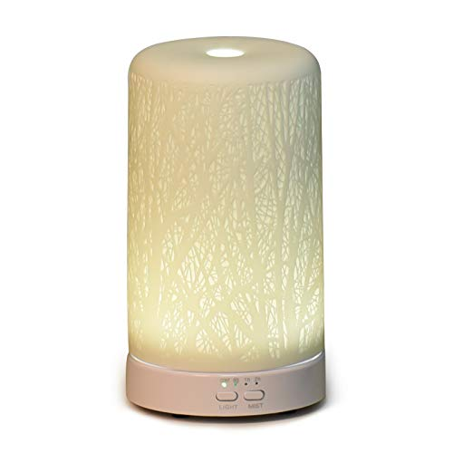 Kakizzy Ceramics Diffusers for Essential Oils, 120ML Essential Oil Diffuser with Timer and LED, Translucent Porcelain Aromatherapy Diffusers Ultrasonic Humidifier with Waterless Auto Shut-Off, White