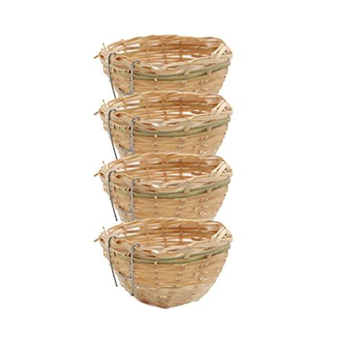 Baoblaze 4 Stück Handgemachte Bambus Kanariennest Vogelzucht Luke Käfig Papagei Rest Cave