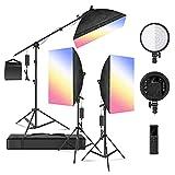 Neewer Kit d'Illuminazione 3pz Luce LED RGB 48W Dimmerabile con Softbox 2,4G Telecomando, 3200-5600K CRI95+ 360° Colore Pieno 10 Effetti di Scena, con Stativo & Asta per Fotografia