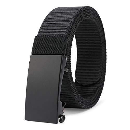 MOZETO Herren Militär Gürtel, keine Löcher voller verstellbarer, Breite ca. 3,4 cm,#B Schwarz,M125cm/Taillenumfang 91-106cm