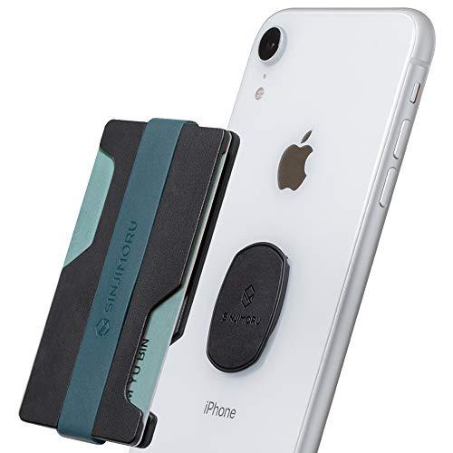 Sinjimoru Smartphone Kartenhalter mit Geldklammer, Portemonnaie für Kreditkarten Slim Wallet Kartenetui Karten Portemonnaie für iPhone & Android, Sinji Mount Z-Slot. Blau