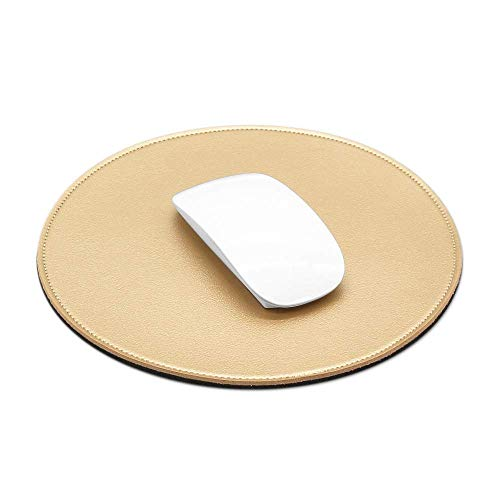 ProElife Mouse Pad for Computer Laptop Accessories, Anti Slip Cute Round Mouse Pad Waterproof PU Leather 8.66-Inch Circular Mousepad Stitched Edges Mat for Home Office School Gaming (Gold)