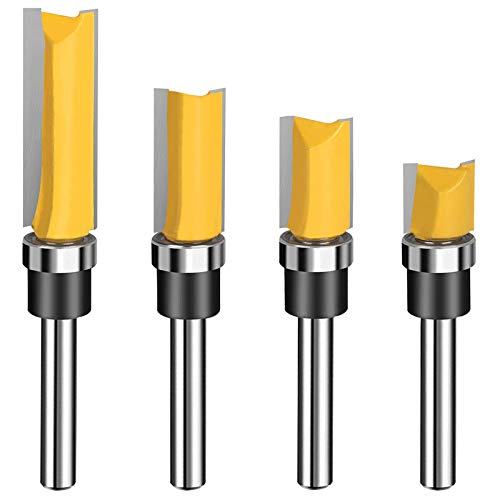 1/4 Shank Carbide Pattern Flush Trim Router Bit Top Bearing Router Bit Set Sharp & Smooth Perfect for Light Work - Cutting Length 1/2