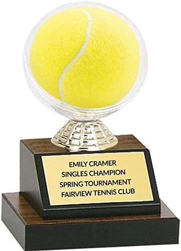 Custom Tennis Ball Display Case Trophy Customize Engraving Plate 7 Inch Tall Insert Into Tennis product image