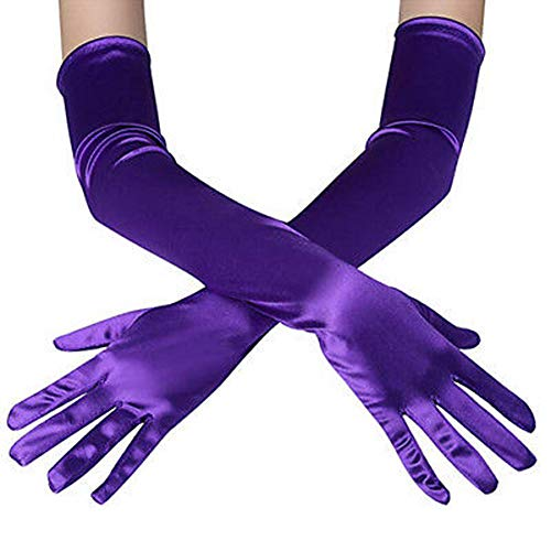 Damen Handschuhe Satin Classic Opera Fest Party Audrey Hepburn Handschuhe 1920er Stil Handschuhe Elastisch Erwachsene Größe Ellenbogen bis Handgelenk Länge 53cm (lila, 53㎝)
