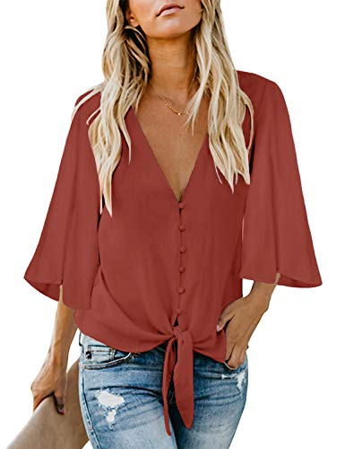 luvamia Women's V Neck Tops Ruffle 3/4 Sleeve Tie Knot Blouses Button Down Shirts, Coral Button Down Size L